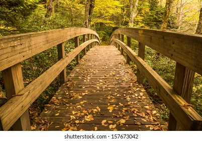 Tanawha trail bridge in the Autumn landscape of the Blue Ridge Mountains near Blowing Rock, North Carolina