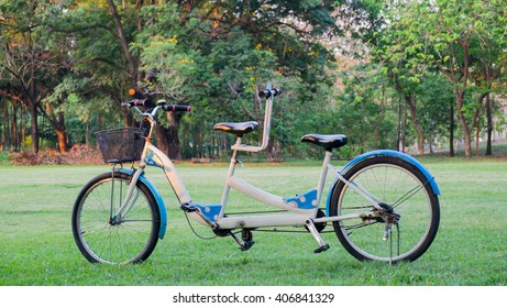 Tandem bicycle in the park, Tandem is abstract of harmony and relationship