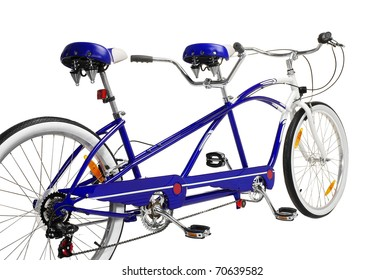 Tandem Bicycle. Studio photo of tandem bicycle isolated on wgite background.