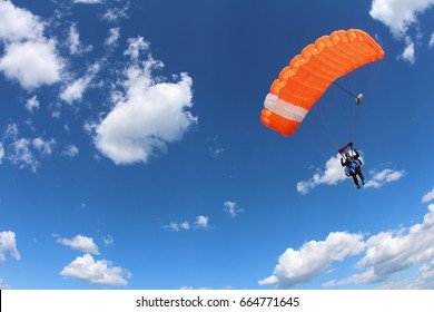 Tandem parachuting. Canopy in the sky.