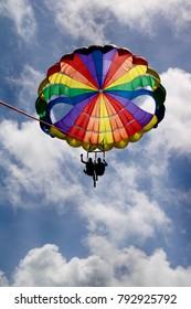 Tandem Parasailing in Cloudy Sky