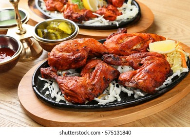 Tandoori chicken with fresh chicken dough and crispy Indian spices