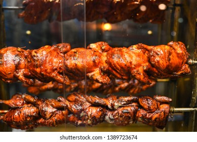 Tandoori chicken Indian Arabian grilled chicken also called Al Faham or Alfaham or Djaj in oven in Kodaikanal Tamil Nadu, India. Popular recipe in Middle East also made as barbeque in charcoal grill.