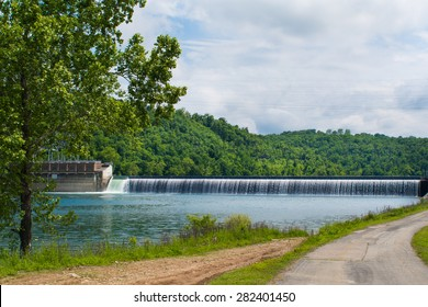 Taneycomo dam runs water into Bull Shoals lake during a Missouri late spring.