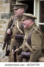 TANFIELD RAILWAY MUSEUM. CO DURHAM. ENGLAND. MARCH 18, 2017. Enthusiasts reenact World War 1 weekend at Tanfield Railway Museum. March 18,2017, Tanfield, County Durham, England, UK.