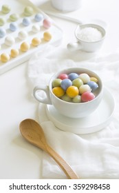 Tang Yuan (Glutinous rice dumplings in sweet soup) on white kitchen counter top.