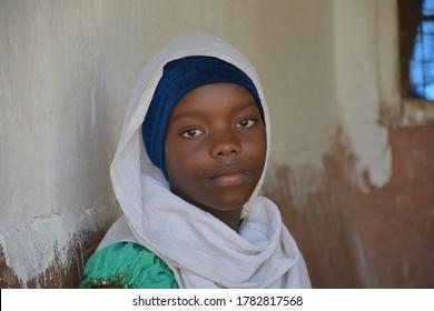 Tanga, Tanzania; February 18th, 2017: Young muslim girl with hijab