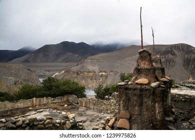 Tangbe, Mustang/Nepal - may 10 2018: sacred place in Tangbe Village, Lo Mantang, Nepal