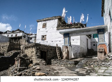 Tangbe, Nepal - May 11 2018: view on the village Tangbe