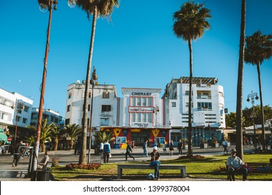 TANGER, MOROCCO - MAY 11, 2019: the Cinematheque de Tanger, Cinema Rif, North Africa's first cinema cultural center, overlooking the Grand Socco, the big square in the medina