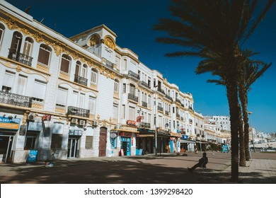 TANGER, MOROCCO - MAY 12, 2019: Old fashion palace in the Tanger (Tangier) promenade along the sea.