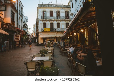 TANGER / MOROCCO - MAY 2019: Cafe Central, in the Petit Socco,  famous from the old Beat Generation times, in the heart of the Medina  quarter of Tangier (Tanger).