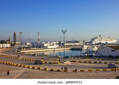 TANGER, MOROCCO - MAY 7, 2017: Tanger seaport, Morocco