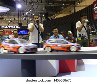 Tangerang, Banten, Indonesia - July 19, 2019. The visitor join a Shouting Race held by Hyundai in Gaikindo Indonesia  International Auto Show (GIIAS) 2019