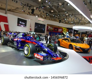 Tangerang, Banten, Indonesia - July 19, 2019. Honda shows their Formula 1 STR 13 in Gaikindo Indonesia  International Auto Show (GIIAS) 2019