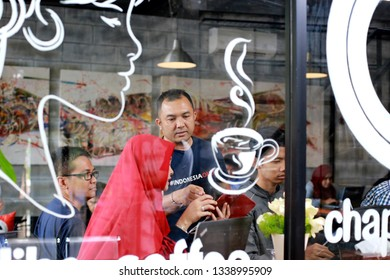 Tangerang, Banten / Indonesia - March 10, 2019 : Workshop How to Sell Your Picture  Online as Shutterstock Contributor with Misbachul Munir Indonesian Professional Photographer