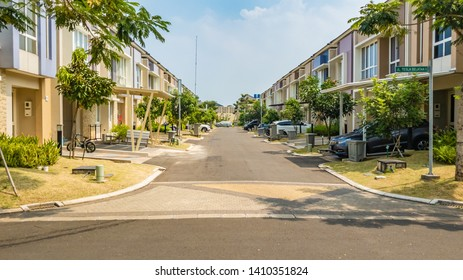 Tangerang, Indonesia - 27 May 2019: Rows of luxury houses in Cluster Thomson and Cluster Tesla in Summarecon Serpong residential area, with big opportunity for property investment and development.