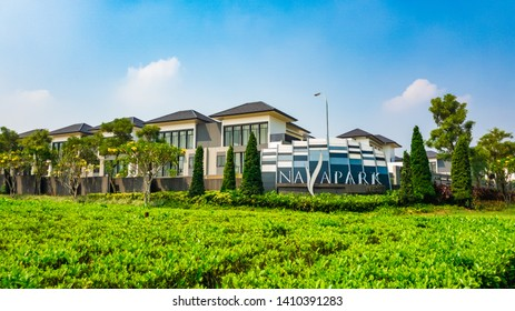 Tangerang, Indonesia - 27th May 2019: Nava Park, one of the clusters of luxury houses in Bumi Serpong Damai (BSD) (English translation: Peaceful Serpong World) in Tangerang, Indonesia.