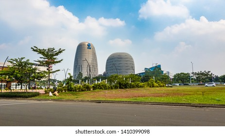 Tangerang, Indonesia - 27th May 2019: Interesting shapes of UMN buildings (Universitas Multimedia Nusantara, or Indonesian Multimedia University in English).