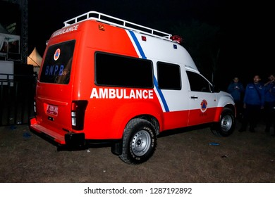 Tangerang, Indonesia - 29th 08 2015: An Ambulance Parking on the Side on the Road