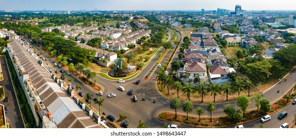 Tangerang, Indonesia - 6th Sep 2019: Aerial or bird eye view of Pondok Hijau Golf cluster in Gading Serpong, Tangerang It is a luxury residential area. with high property development and investment.