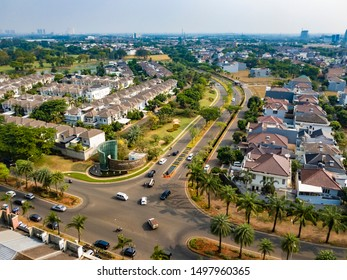 Tangerang, Indonesia - 6th Sept 2019: Aerial or bird eye view of Pondok Hijau Golf cluster, in Gading Serpong residential area. It is a luxury real estate with high property investment and development