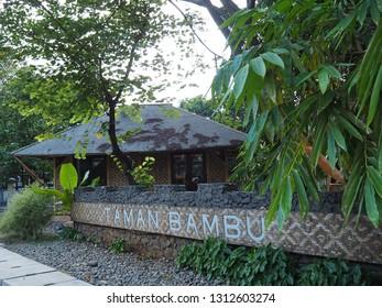 Tangerang, Indonesia - October 19, 2018: A traditional bamboo hut at Taman Bambu (Bamboo Park).
