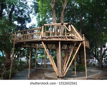 Tangerang, Indonesia - October 19, 2018: A bamboo sentry post at Taman Bambu (Bamboo Park).