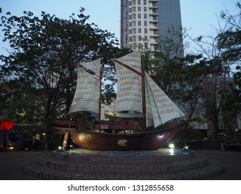 Tangerang, Indonesia - October 19, 2018: A phinisi boat replica stands at Taman Potret (Portrait Park).