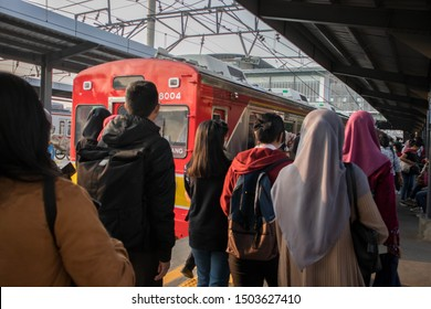 Tangerang, Indonesia-September 2019: The atmosphere in station. The passengers are heading for the commuter line (KRL).