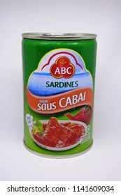 "Tangerang-May 26, 2018: illustrative editorial photo: canned sarden fish brand ""ABC"" produced by PT. Torabika Eka Semesta, Indonesia"