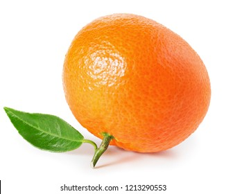 Tangerine or clementine with green leaf isolated on white background with clipping path