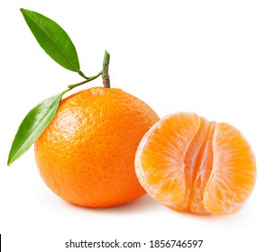 Tangerine or clementine with green leaf isolated on white background. Package design element