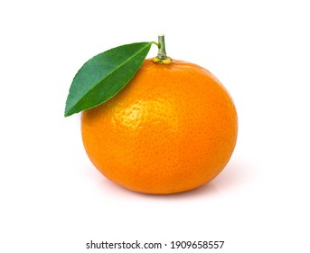 Tangerine or clementine orange fruit with green leaf isolated on white background. Clipping path.