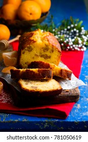 Tangerine Honey Walnut Cake..vintage style.selective focus
