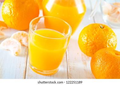 Tangerine juice in the jug