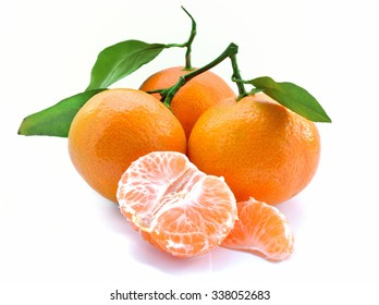 Tangerine with leaf