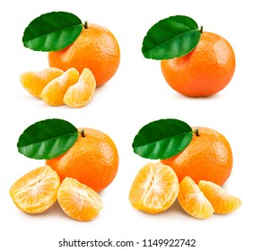 Tangerine with leaf mandarin collection isolated on white. Clipping Path