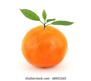 Tangerine with leaf on white background