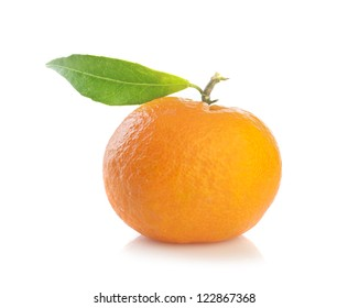 Tangerine with leaves isolated on a white background