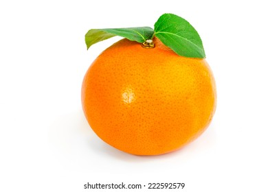 Tangerine with leaves isolated on a white background.