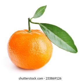 tangerine with leaves isolated on white background