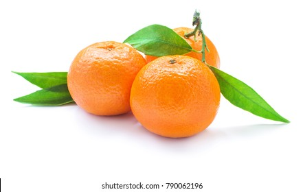 Tangerine with leaves  isolated on white. Ripe mandarins isolated on white. Citrus fruit