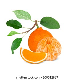 Tangerine with leaves and slice isolated on white
