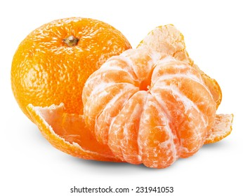 tangerine or mandarin fruit isolated on white background cutout. Clipping Path