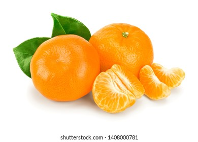 tangerine or mandarin fruit with leaves isolated on white background