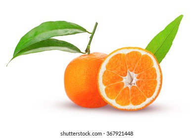 tangerine or mandarin fruit whole and cut in half with green leaves isolated on white background
