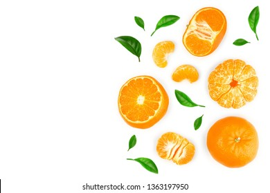 tangerine or mandarin isolated on white background with copy space for your text. Top view. Flat lay