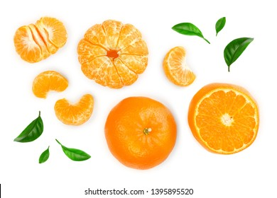 tangerine or mandarin isolated on white background. Top view. Flat lay