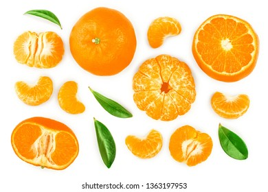tangerine or mandarin with leaves isolated on white background. Top view. Flat lay